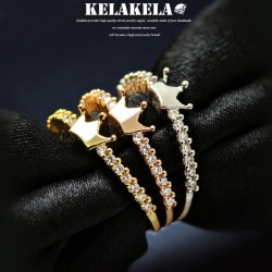 KELAKELA 个性时尚简约风日韩版饰品情侣对戒锆石光面皇冠细戒指女指环食指 K1068