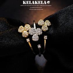 KELAKELA 个性时尚简约风日韩版饰品开口三叶草细戒指女指环食指 K1028