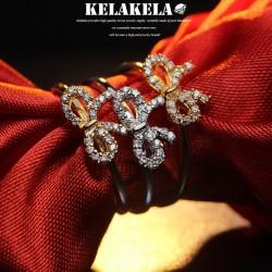 KELAKELA 个性时尚简约风日韩版饰品情侣对戒锆石锆石蝴蝶结戒指女指环食指 K1053