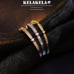 KELAKELA 个性时尚简约风日韩版饰品锆石细戒指女指环食指 K1025