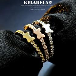 KELAKELA 个性时尚简约风日韩版饰品情侣对戒锆石光面蝴蝶戒指女指环食指 K1073