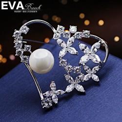 EVA颐娲高档胸针  气质百搭珍珠锆石桃心爱心胸针 领针 女王节礼物 6759