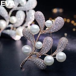 EVA颐娲高端胸针 气质微镶锆石珍珠胸针别针领针金枝玉叶 6774