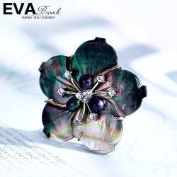 EVA高档胸针 气质贝壳珍珠天然淡水珍珠五叶花复古胸针 女 衬衫配饰 6794