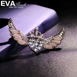 EVA颐娲 高端胸针品牌 精致皇冠西服别针 镶钻天使翅膀胸花 百搭 6138