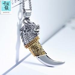 千族银 男士狼牙项链 韩版时尚吊坠配饰个性霸气潮男生饰品礼物 Q149