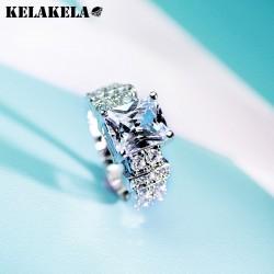 KELAKELA 高档铜微镶锆石水晶戒指 韩版精品配饰 日常个性百搭 女 K253