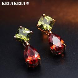 KELAKELA 高档铜微镶锆石简约款耳钉 韩版精品耳配饰 女 K256