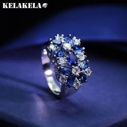 KELAKELA 高档铜微镶锆石水晶戒指 韩版精品配饰 闪亮个性百搭 女 K252