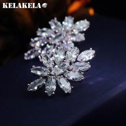 KELAKELA  高档铜微镶锆石水晶花耳钉 韩版精品耳配饰 女 K254