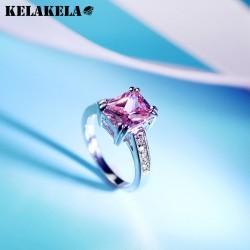 KELAKELA 高档铜微镶锆石粉色水晶 韩国精品配饰 简约个性日常 女 K249