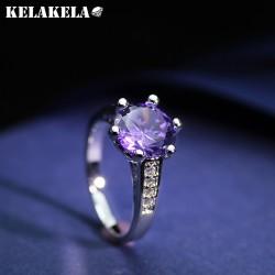 KELAKEAL 高档铜微镶锆石紫水晶戒指 韩国精品配饰 简约日常百搭 女 K250