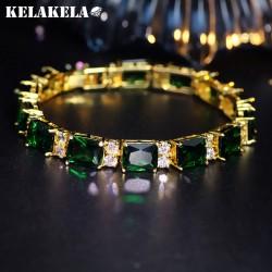 KELAKELA 高档铜微镶锆石绿水晶手链 韩国精品配饰 时尚优雅百搭款 女 K243
