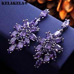 KELAKELA 高档紫水晶铜微镶锆石耳钉 韩版精品配饰 女 K257