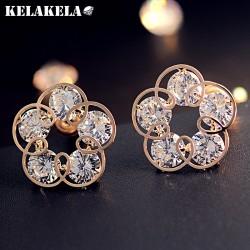 KELAKELA 高档水晶锆石五叶花朵创意耳钉 韩国精品耳饰 女 K258