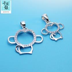 千族银珠宝 S925纯银十二生肖镂空卡通可爱小猴子项链 吊坠 女 Q140