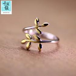 千族银珠宝品牌首饰 高档S925纯银橄榄叶子开口戒指 韩版创意新品配饰 女 Q167