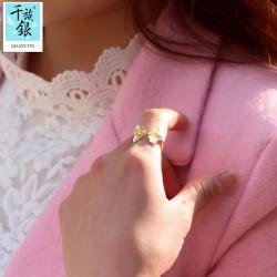 千族银珠宝品牌首饰 高档S925纯银小杏叶叶子开口戒指 韩版个性创意新品配饰 女 Q158