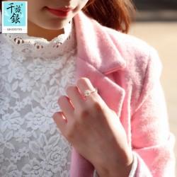 千族银珠宝品牌首饰 高档S925纯银小菊花开口戒指 韩版日常创意新品配饰 女 Q164