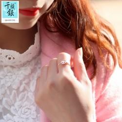 千族银珠宝品牌首饰 高档S925纯银可爱怪异蝴蝶结骷髅女孩开口戒指 韩版创意新品配饰 女 Q166