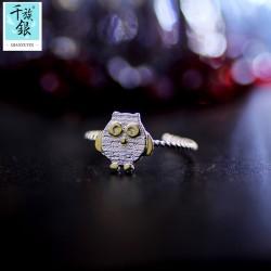 千族银珠宝品牌首饰 高档S925纯银小猫头鹰开口戒指 韩版创意新品配饰 女 Q169