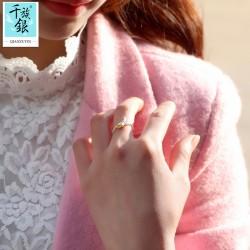 千族银珠宝品牌首饰 高档S925纯银迷你郁金香花朵开口戒指 韩版创意新品配饰 女 Q163