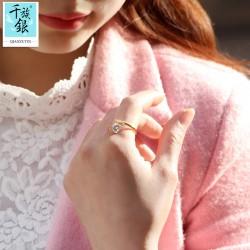 千族银珠宝品牌首饰 高档S925纯银简约小花朵开口戒指 韩版创意新生配饰 女 Q171