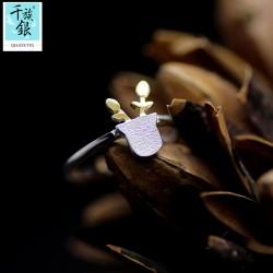 千族银珠宝品牌首饰 高档S925纯银小盆栽叶子开口戒指 韩版创意新品小清新配饰 女 Q170