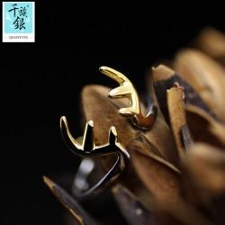 千族银珠宝品牌首饰 高档S925纯银梅花鹿角开口戒指 韩版创意可爱新品配饰 女 Q157