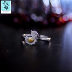 千族银珠宝品牌首饰 高档S925纯银可爱小鸭子开口戒指 韩版创意新品配饰 女 Q168