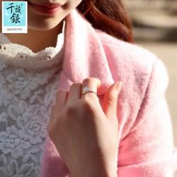 千族银珠宝品牌首饰 高档S925纯银迷你可爱小蘑菇云朵开口戒指 韩版日常创意新品配饰 Q162