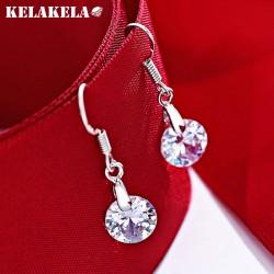 KELAKELA 日韩精品s925纯银锆石耳环 日常个性耳配饰 女 K281