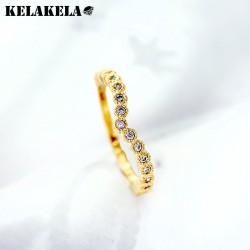 KELAKELA 日韩创意爱心型铜微镶锆石戒指 日常个性配饰 女 K286