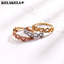 KELAKELA 日韩创意爱心铜微镶锆石戒指 日常个性配饰 情人节礼物 女 K297