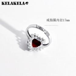 KELAKELA品牌 跨境电商 铜锆石 海洋之心项链戒指两件套装 婚礼珠宝首饰 K309