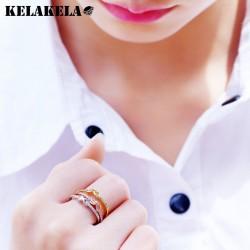 KELAKELA 韩版创意简约配饰 高档铜微镶锆石戒指 麻花蝴蝶结设计 女 K291