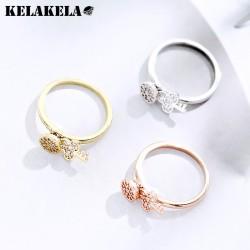 KELAKELA 韩版创意精品配饰 高档铜微镶锆石钥匙锁芯戒指 个性简约 女 K285