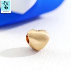 千族银珠宝首饰配件 精品手链项链心形串珠DIY配饰 Q180