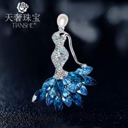天奢TIANSHE 珍珠美人鱼胸针 长款项链双用 2015787