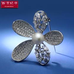 西凉妃子珠宝首饰天然淡水珍珠微镶锆石镂空五叶花胸针胸花女X216