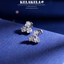 KELAKALA品牌首饰 高档水晶锆石耳钉 方块组合创意耳配饰 时尚个性女