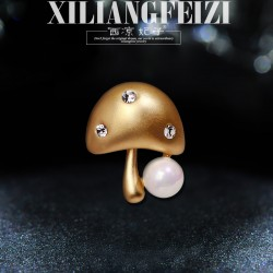 西凉妃子 蓝瘦香菇蘑菇天然淡水珍珠小胸针别针 精品百搭可爱俏皮配饰 女 X538