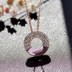 零售爆款饰品奥地利水晶满钻圆环项链饰品-月亮代表我的心4587