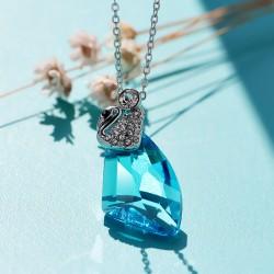 淘宝特供 奥地利水晶斧头项链批发-七彩三角水晶天鹅吊坠- 礼物 4091