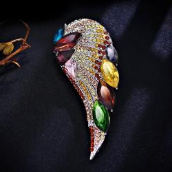 EVA颐娲 高端服装配饰品牌 韩国个性水晶翅膀羽毛胸针别针开衫 女 5902-110