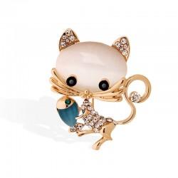 EVA颐娲 高端服装配饰品牌 韩国可爱抓鱼小猫水晶猫眼石胸针别针开衫 女 5984-96