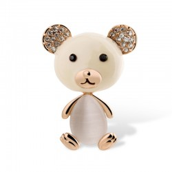 EVA颐娲 高端服装配饰品牌 韩版可爱小熊水晶猫眼石布朗熊胸针别针 女 6185-69