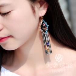 天奢TIANSHE 外贸欧美饰品 长款方形水晶波西米亚手工流苏耳环 2014995-237