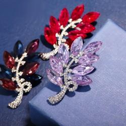EVA颐娲 高端服装配饰品牌 韩国创意新元素水晶叶子胸针项链双用 别针 女 5841-124