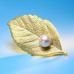 EVA颐娲 高端服装配饰品牌 韩国简约气质珍珠树叶子胸针别针开衫 女 6715-66
